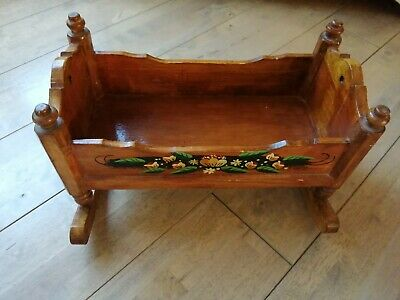£29.99 • Buy Vintage Baby Doll Wooden Rocking Cradle Bed Crib Child Toy