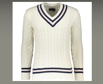 $349.37 • Buy POLO RALPH LAUREN MENS Cream V Neck Cable Knit Sweater Cricket Jumper S Small