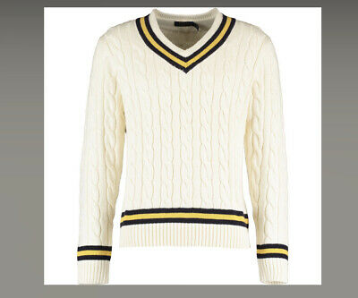 $349.37 • Buy POLO RALPH LAUREN MENS Cream V Neck Cable Knit Sweater Cricket Jumper SMALL / S