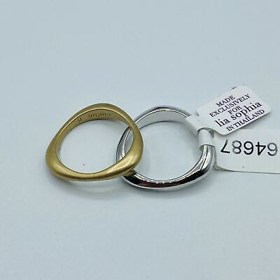 $ CDN16.98 • Buy Lia Sophia Set Of 2 Rings Silver Copper Goldtone Color Opposites Attract Size 8