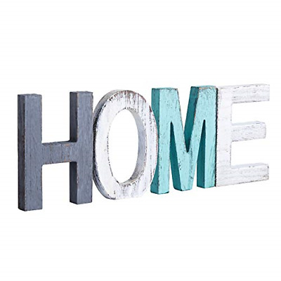 £14.97 • Buy Y&ME Rustic Wood Home Sign, Decorative Wooden Block Word Signs, Freestanding For