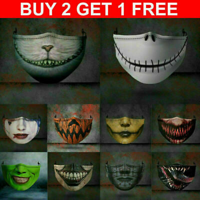 AU9.99 • Buy Motorcycle Face Mask Funny Scary Fashion Washable Reusable Face Cover Horror