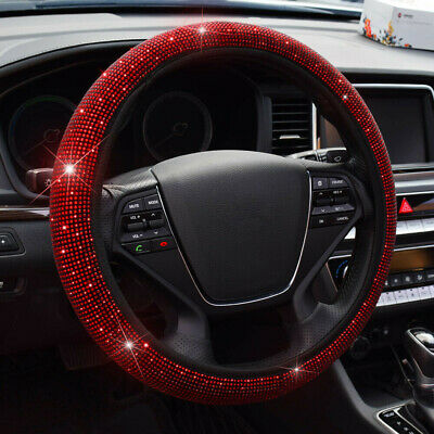 $10.95 • Buy Red 15''/38cm Car Steering Wheel Cover Bling Diamond For Women Car Accessories
