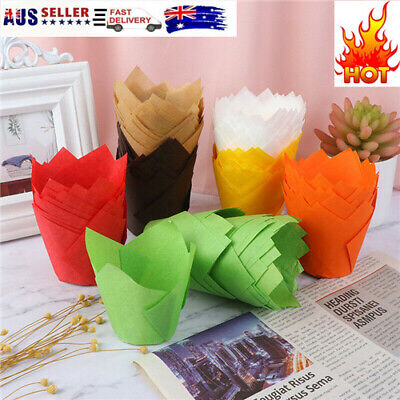£5.75 • Buy 50Pcs Cupcake Wrapper Liners Muffin Tulip Case Cake Paper Baking Cup Decor*