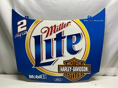 """$99 • Buy Harley Davidson Miller Lite Rusty Wallace Sign Hood Ford Mobil 32 X 28"""" Man Cave"""