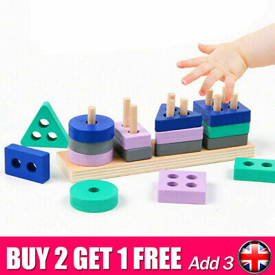 £4.75 • Buy Wooden Toys For 1 2 3 4 5 Years Lead-free Old Boys Girls Toddler Educational UK