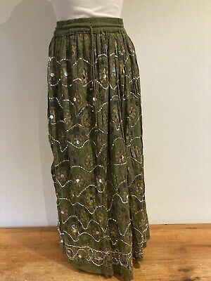 £3 • Buy Indian Sequin Floral Embroidered Green Boho Hippy Gypsy Maxi Skirt M