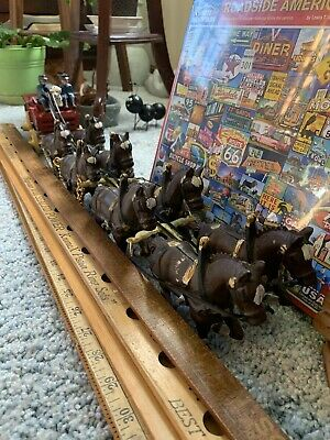 $ CDN36.20 • Buy Vtg Very Nice Cast Iron Beer Wagon 8 Clydesdale Horses, 2 Drivers, Plastic Dog