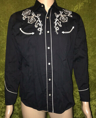 $34.99 • Buy Vtg Buffalo Country Pearl Snap Black White Embroidered Western Shirt Mens Small