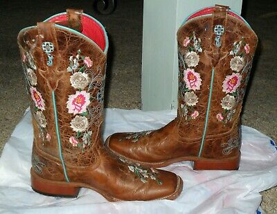 $59.99 • Buy Macie Bean Rose Garden Embroid Brown Leather Western Cowboy Boots Women Size 5 B
