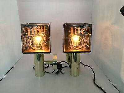 $49.99 • Buy Pair Of 1980s Miller Lite Beer Sign Lighted Wall Sconce Light Lamps