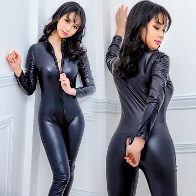 £13.16 • Buy Women's Latex Wet Look Jumpsuit Leather Catsuit Close-fitting Bodysuit Rompers*