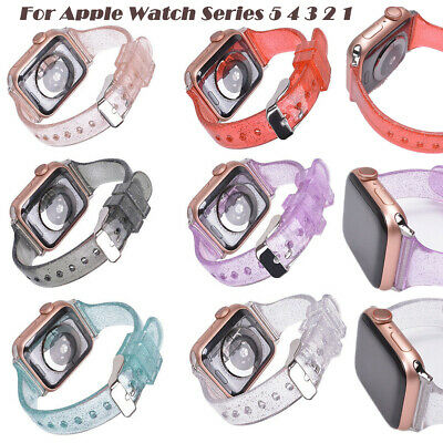 $ CDN11.19 • Buy Clear Band Glitter TPU Strap For Apple Watch Series 1/2/3/4/5/6 38/42mm 42/44mm