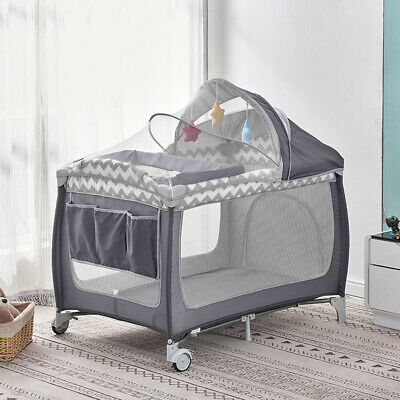 £64.99 • Buy Foldable Baby Travel Cot Crib Bed With Infant Changing Table Playpen Bassinet