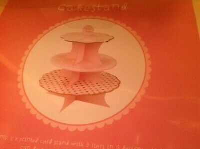 £3.70 • Buy Talking Tables Card Cake Stand - 3 Tier Pink and White Brand New