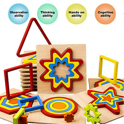 £6.99 • Buy 4 Pcs Educational Wooden Toys Kids Puzzle Toddler Learning Jigsaw Funny Toy Gift