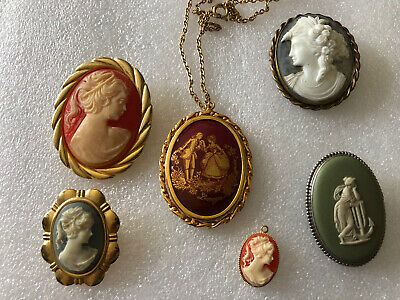 £22 • Buy Job Lot Of Cameo Brooches Plus Limoges Pendant