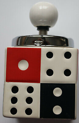 £9.99 • Buy Red & White Spinning Top Dice Ceramic Ashtray Gift NEW