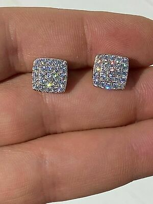 $35.99 • Buy 10mm Solid 925 Silver Iced Diamond Earrings Screw Back Square Men's Flooded Out