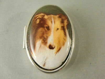 £2.20 • Buy Fine Sterling Silver & Picture Enamel ROUGH COLLIE DOG PILL BOX London C2000