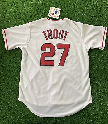 $64.99 • Buy Mike Trout California Angels Home White Throwback Jersey Men's Size Large NWT