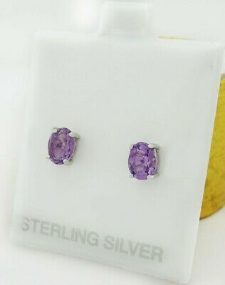 £6.87 • Buy GENUINE 1.60 Cts AMETHYST STUD EARRINGS .925 Sterling Silver * NEW WITH TAG *