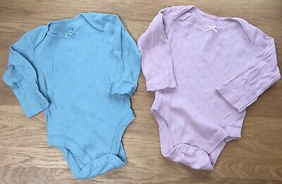 £2.95 • Buy TU Set Of 2 Blue & Pink Broderie Anglaise Baby Vests Bodysuits Age Up 3-6 Months