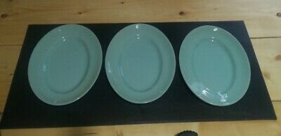 £30 • Buy 3 WOODS WARE BERYL (GREEN) OVAL SERVING PLATTER / STEAK PLATES 11 INCHES (28cm)