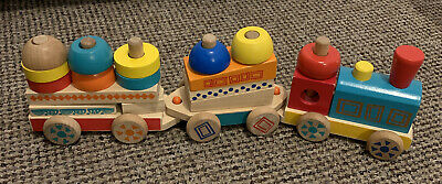 £7 • Buy Wooden Building Blocks Bricks Push Along Train Carriages Kids Toy Shape Stacking