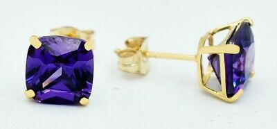 £24.60 • Buy  AMETHYST  1.72 Cts  STUD EARRINGS 14K  YELLOW GOLD ***Made In USA***