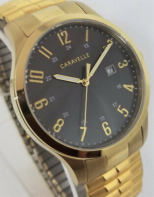 $1.29 • Buy Caravelle By Bulova $100 Men's Charcoal Dial Gold Expansion Date Watch 44b126*