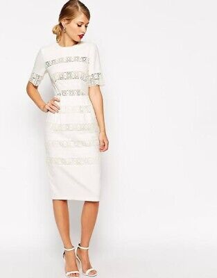 AU49 • Buy ASOS Cream Cotton Lace Wiggle Dress Worn Once Was $179 Size 18 Fit 16