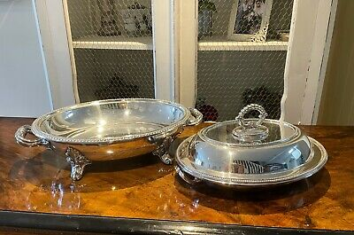 £80 • Buy Antique Silver Plated Serving Dish With Liner & Lidded  Entree Dish