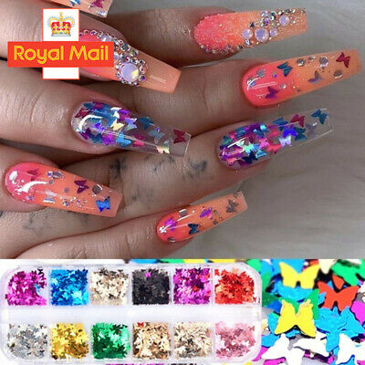 £2.98 • Buy 12 Colours Glitter Butterfly Set Sequin Nail Art Tips Decoration / Crafts / DIY