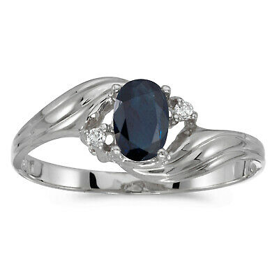 AU624.80 • Buy 14k White Gold Oval Sapphire And Diamond Ring
