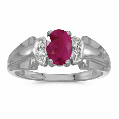 AU823.20 • Buy 14k White Gold Oval Ruby And Diamond Ring