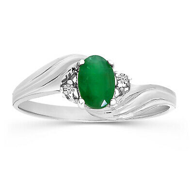 AU445.20 • Buy 10k White Gold Oval Emerald And Diamond Ring