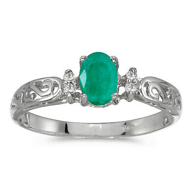 AU565.60 • Buy 14k White Gold Oval Emerald And Diamond Filagree Ring