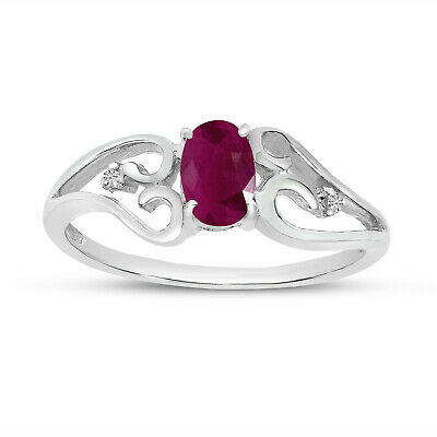 AU530 • Buy 10k White Gold Oval Ruby And Diamond Ring