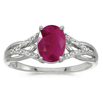 AU947.20 • Buy 10k White Gold Oval Ruby And Diamond Ring