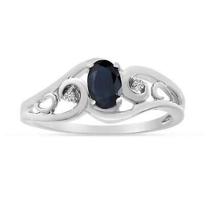 AU620.40 • Buy 10k White Gold Oval Sapphire And Diamond Ring