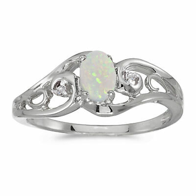 AU806 • Buy 14k White Gold Oval Opal And Diamond Ring
