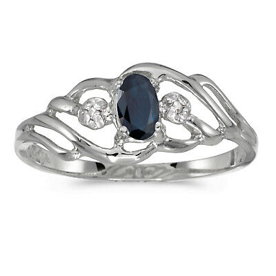AU308.80 • Buy 10k White Gold Oval Sapphire And Diamond Ring