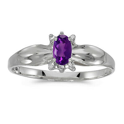 AU445.60 • Buy 14k White Gold Oval Amethyst And Diamond Ring