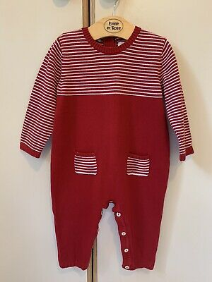 £8 • Buy Emile Et Rose Red And White Cotton Knitted Romper Age 12 Months Worn Once!