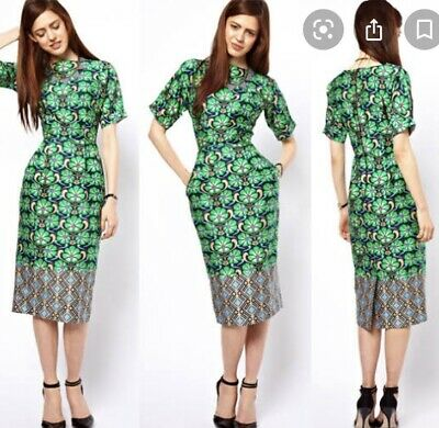 AU55 • Buy ASOS STUNNING Wiggle Dress Green And Blue Size 18 Fit 16 Worn Once