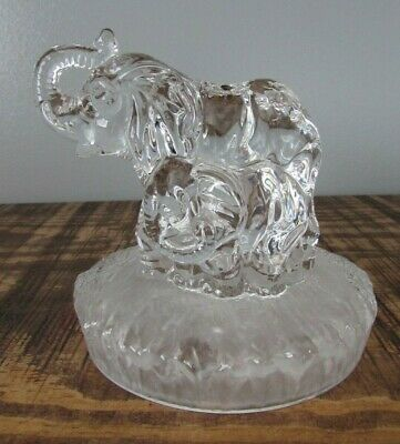 £12 • Buy  Rcr Royal Crystal Rock Elephant And Calf Figurine Glass Paperweight Ornament