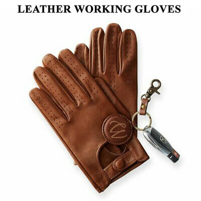 £9.99 • Buy Mens Classic Driving Gloves Soft Genuine Real Lambskin Leather Dark Brown