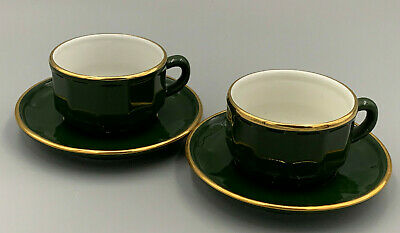 £15.29 • Buy Apilco Green And Gold French Bistro Ware Coffee / Espresso Cups & Saucers X 2.