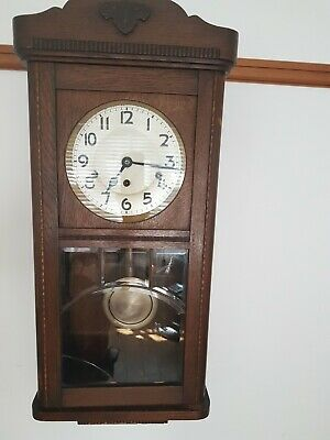 £24.99 • Buy Large Oak Cased DRP Wall Clock Working With Key & Pendulum Working